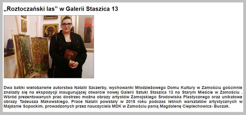 """""""Roztoczański las"""" w Galerii Staszica 13 Młodzieżowy Dom Kultury"""