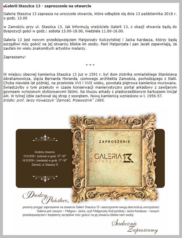 Galeria Staszica 13 – zaproszenie na otwarcie